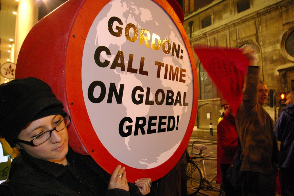 Peter Taylor, Protest against Global Greed outside the Guildhall, London, Nov. 10, 2008