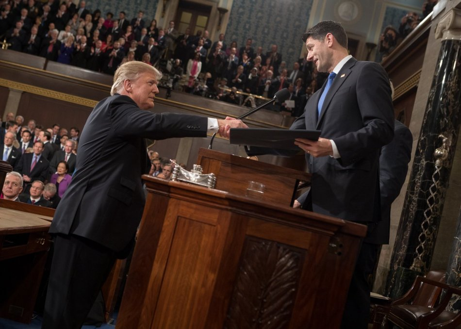 President Donald Trump shaking hands with House Speaker Paul Ryan, R-Wis., at the former's February 28, 2017 address to a joint session of Congress (Office of the Speaker via Wikimedia C
